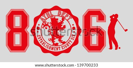 lion golf club vector art - stock vector