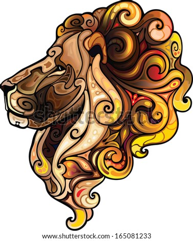 Lion head. - stock vector