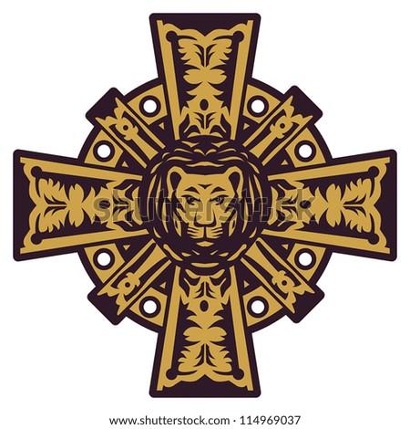 Lion head and iron cross, vector illustration - stock vector