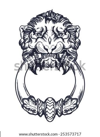 Lion head door knocker. Hand drawn vector illustration isolated - stock vector