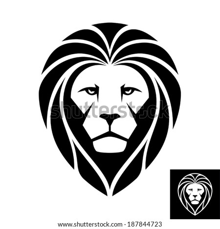 Lion Head Logo (Icon) - Illustration. Works well as a mascot image. A Lion head icon in black and white. This is vector illustration ideal for a mascot and T-shirt graphic. Inversion version included. - stock vector