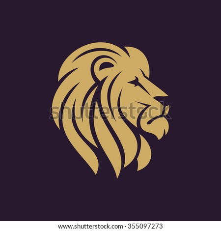 Lion head logo or icon in one color. Stock vector illustration. - stock vector