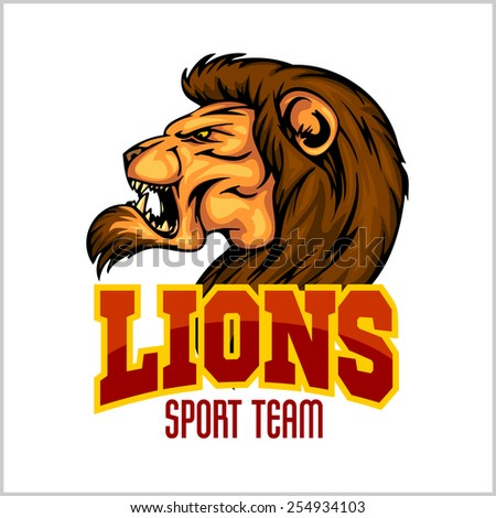 Lion head mascot - vector illustration for sport team and t-shirt - stock vector