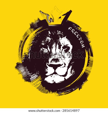 Lion head on yellow background. Hand drawn. vector illustration. - stock vector