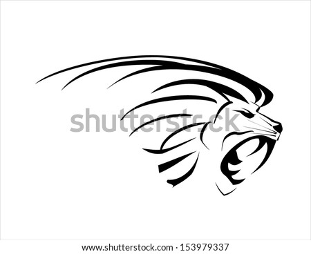 Lion head. Roaring Fang face - stock vector
