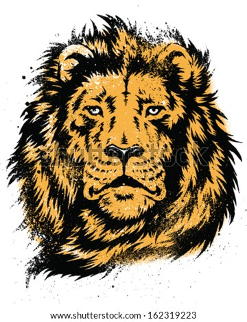 Lion Head Stencil Vector - stock vector