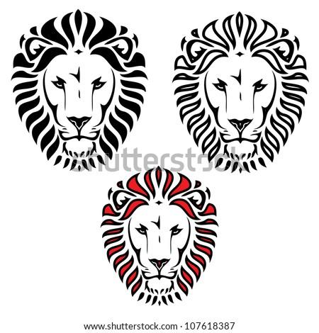 Lion head tattoo - vector illustration - stock vector