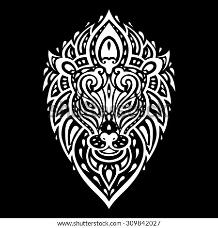 Lion head. Tribal pattern. Polynesian tattoo style. Vector illustration. - stock vector