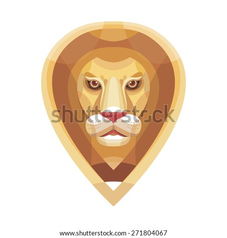 Lion head vector illustration in flat style. Lion head vector logo design. - stock vector