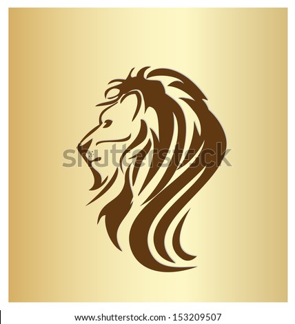 Lion head vintage silhouette icon vector - stock vector