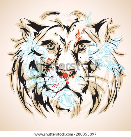 Lion head vintage style - stock vector