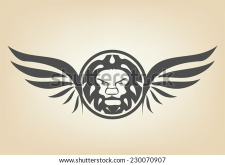 Lion head with wings - stock vector