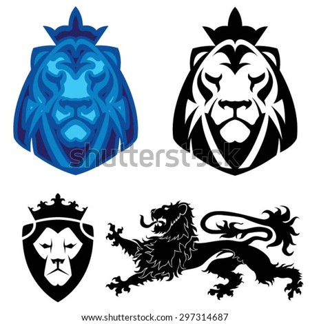 Lion heraldry head logo - stock vector