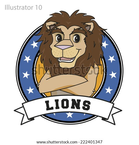 Lion Mascot with Stars and banner. - stock vector