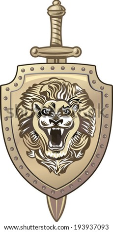 Lion on shield - stock vector