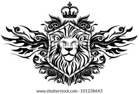 Lion On Shield Insignia - stock vector