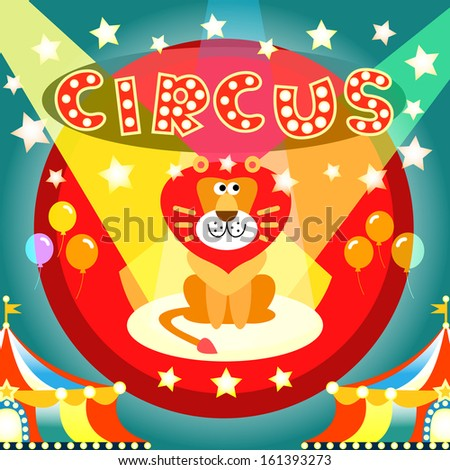 Lion on the circus arena poster vector illustration template - stock vector