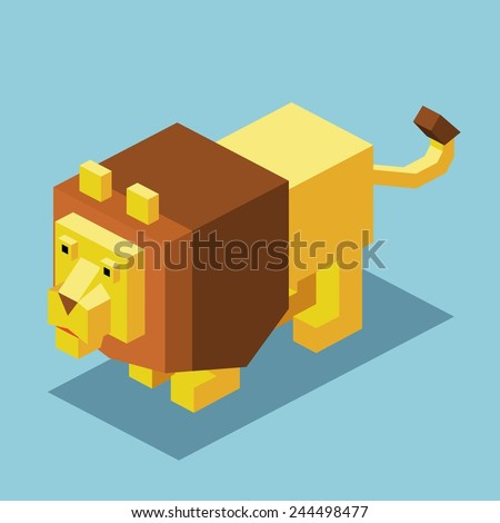 lion on the water. 3d pixelate isometric vector - stock vector