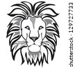 lion outline vector isolated on white background - stock vector