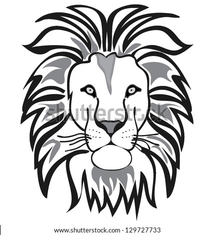 lion outline vector isolated on white background - stock ...