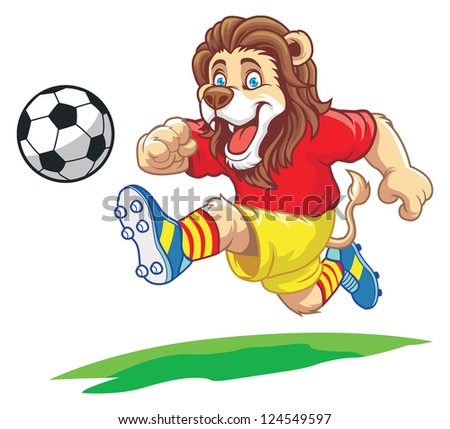 lion playing soccer - stock vector