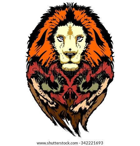Lion Pop Art Wild Look - stock vector