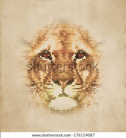 Lion portrait made of geometrical shapes - Vintage Design - stock vector