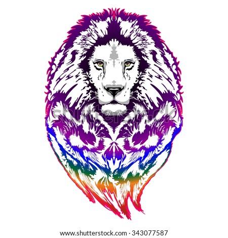 Lion Psychedelic Pop Art - stock vector