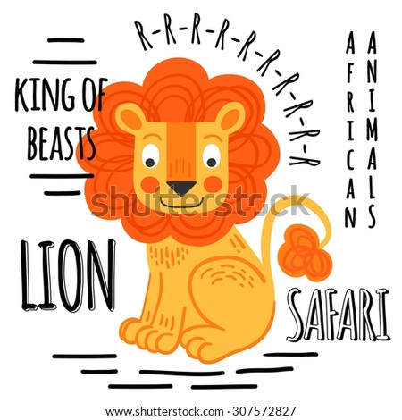 Lion red with lettering on a white background isolated. African animals background - stock vector