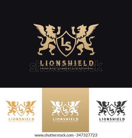 Lion Shield Logo,Lion logo,crest logo,luxury logo,vector logo template - stock vector