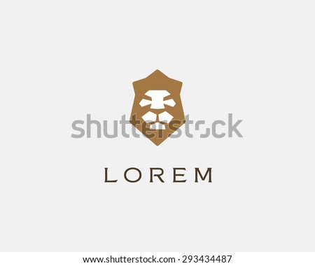 Lion shield vector logo design template. Universal premium elegant creative symbol. Lion face crown logotype emblem template for business, t-shirt design.  - stock vector