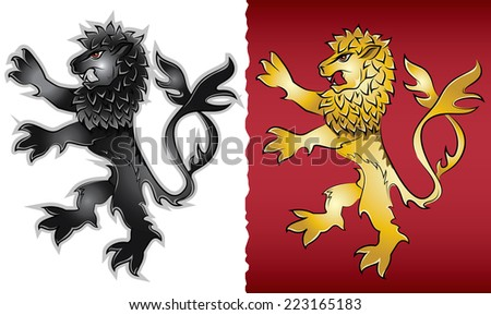 lion silhouette heraldic emblem illustration - stock vector