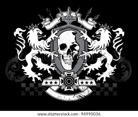 Lion Skull Shield Crest - stock vector