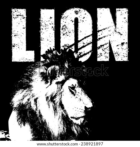 lion vector, rubber stamp - stock vector