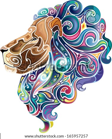 Lion with emerald mane. - stock vector