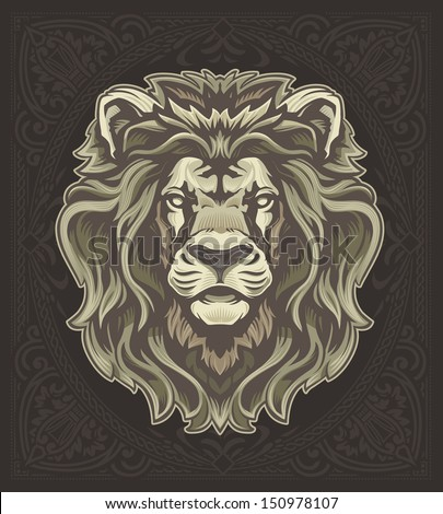 Lion with Vintage Pattern - stock vector