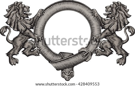 Lions and frame vector strap.Engraving vintage coat of arms. - stock vector