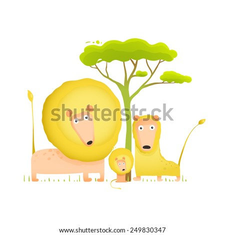 Lions Family Portrait Funny Cartoon. Brightly colored animals parents and baby. Vector illustration EPS10. - stock vector