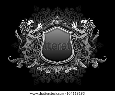Lions holding shield insignia - stock vector