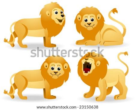 Lions - Vector - stock vector
