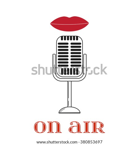 Lips are talking to the microphone - stock vector