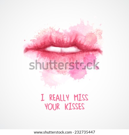 Lips painted in watercolor. Vector illustration - stock vector
