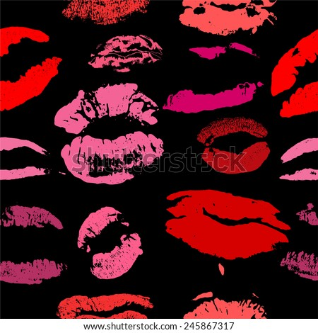 Lips print pattern vector - stock vector