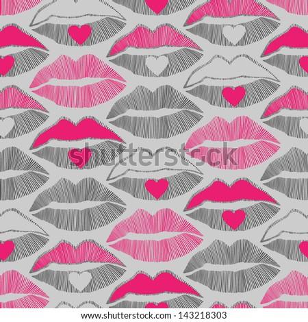 lips vector seamless pattern, romantic background - stock vector