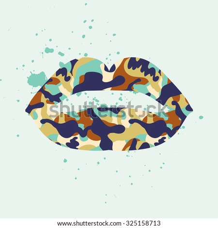 Lips with camouflage texture. Grunge wallpaper in vector.  - stock vector