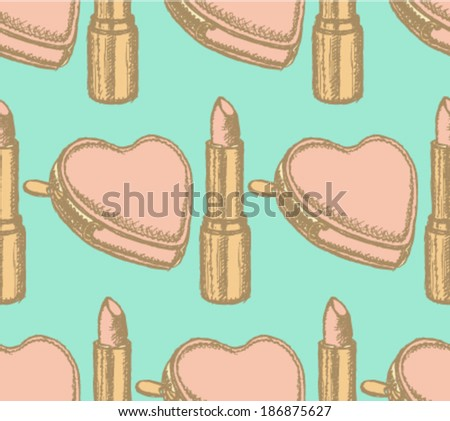 Lipstick and heart wallet sketch, vector retro background - stock vector