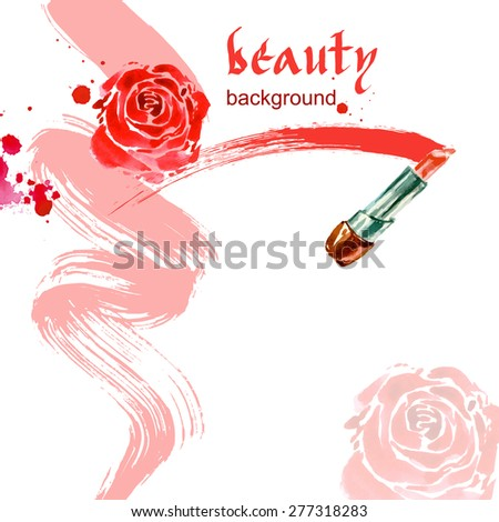 Lipstick. Watercolor Beauty and cosmetics background. Vector illustration. - stock vector