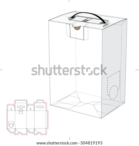Liquid container with handle, dowel and Blueprint Template - stock vector