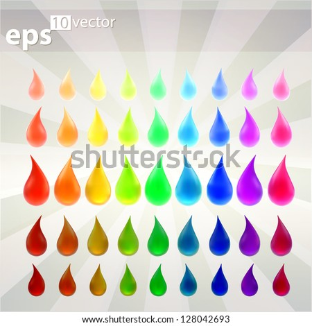 Liquid drop collecton of colorful indicator vector emblems, rainbow colored from lighten to darken - stock vector