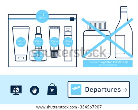 Liquids in carry-on baggage. Airport rules. Vector icons - stock vector